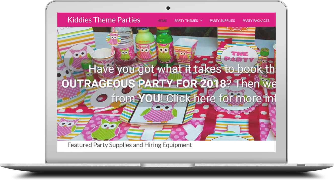 Catalogue website for kiddiesthemeparties.co.za